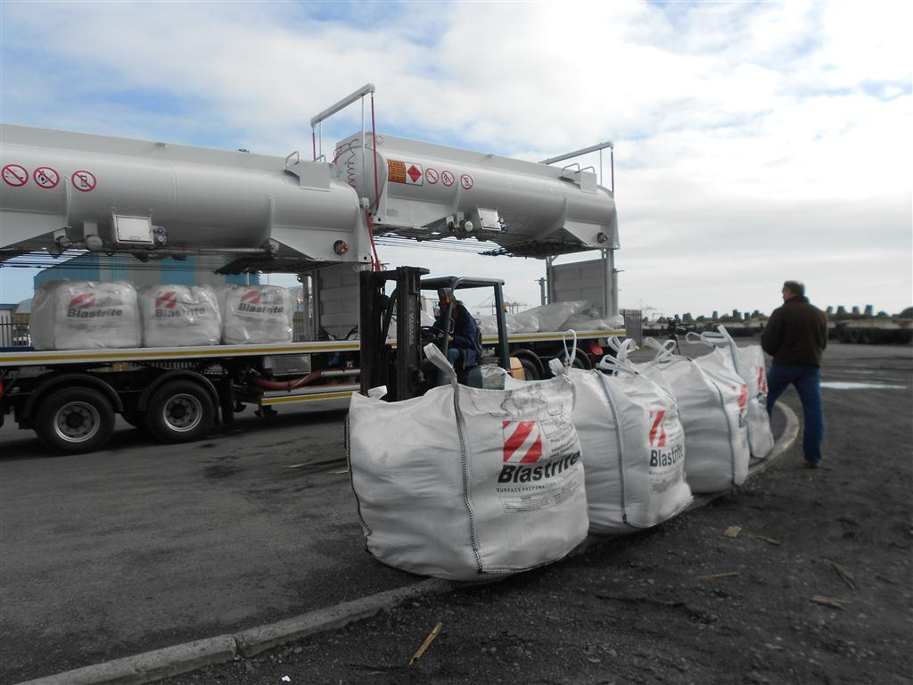 Shotblast bags offloaded at end of 580km trip