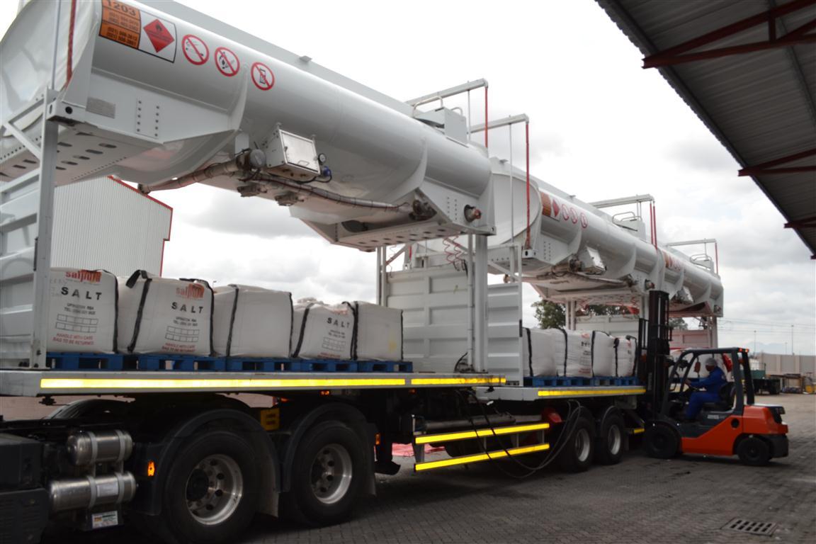 Bulk Salt on pallets being loaded